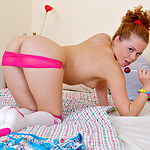 Sucking A Lollipop Makes Cute Teeny So Horny She Ends Up Fucking Herself With This Sweet Candy - Picture 10